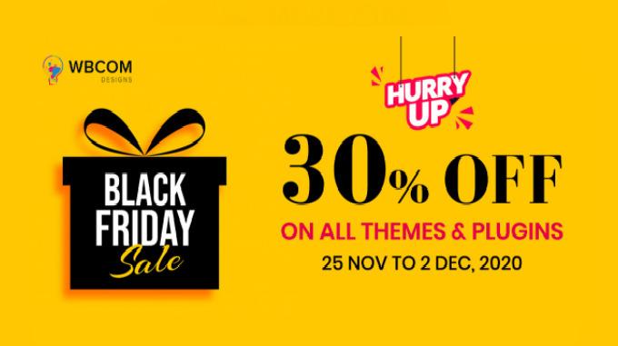 WbCom Designs Black Friday sale - 30% off on Wordpress themes & Plugins